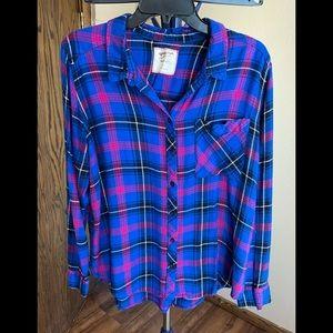 EUC Arizona Jean Co. Vibrant Plaid Boyfriend Fit Flannel Button Down Shirt #108